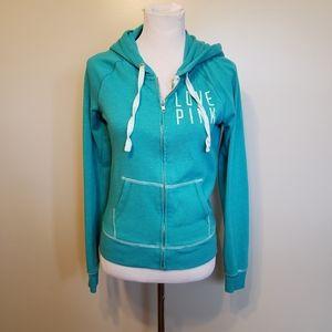 Victoria's Secret PINK turquoise zip up hoodie